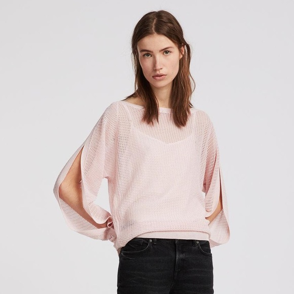 All Saints Sweaters - All Saints Candy Pink Elle Open Knit Top M